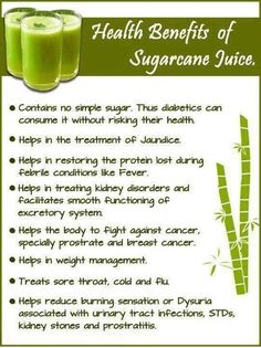 Sugarcane Juice and its benefits.. The juice from sugarcane is also very healthy and is loaded with a range of essential nutrients. Cane juice is a natural high-energy drink, which makes it a healthy alternative to refined sugar added drinks!