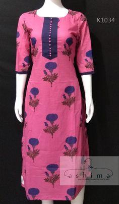 Code:K1034 - Price INR:1300/- , Printed Cotton Kurti.