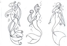 mermaids tattoo  i like the one on the right with the one on the rights tale and the middles whispy hair