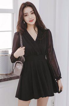 Sheer Sleeve Wrap Dress - Sites new Korean Fashion Dress, Ulzzang Fashion, Korean Outfits, Asian Fashion, Fashion Dresses, Trendy Dresses, Elegant Dresses, Nice Dresses, Casual Dresses