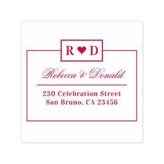 Modern Wedding Heart & Custom Names Return Address Self-inking Stamp Custom Office Retirement #office #retirement