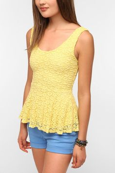 Pins and Needles Daisy Lace Peplum Tank Top  #UrbanOutfitters