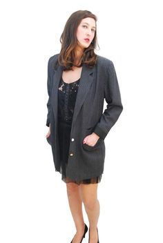 Black And Gray Vintage Jacket For Women 1980s