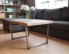 "Wood Coffee table with square steel legs made of reclaimed wood, Standard 1.65"" top, 18"" tall x 48"" L x 20"" w by UrbanWoodGoods on Etsy"