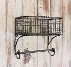 Basket Towel Rod, Bathroom Organizer, Bathroom Shelf, Bathroom Storage, Industrial Bathroom, Hand Towel Rack, Farmhouse Style, Wire Basket