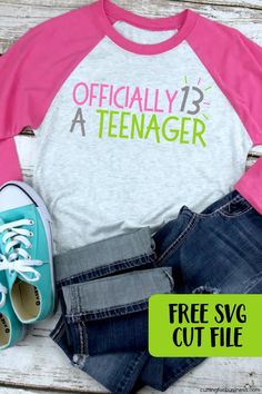 b42f4ab2 Free 'Officially a Teenager' 13 Birthday SVG Cut File. Silhouette Cameo ...