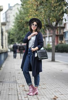 Pink velvet booties, mom jeans and grey shirt from @asos and long trench. Myblueberrynightsblog
