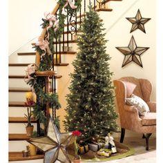 Slim Profile Angel Pine Pre-lit Christmas Tree