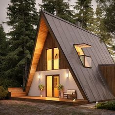 Modern a-frame home kit. Great for offgrid affordable housing architecture A Frame House Kits, A Frame House Plans, Tiny House Plans, Wood Frame House, Metal House Kits, A Frame Floor Plans, Tiny House Cabin, Log Cabin Homes, Tiny House Design