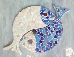 Poisson carpes support mosaïque - entrelacés yin-yang pour ...