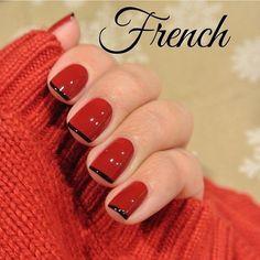 Red French Nai Art with black - Uñas estilo francesas decoradas en rojo y negro