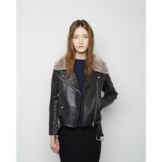 Acne Studios Mape Shearling Leather Jacket ($1,915) ❤ liked on Polyvore featuring outerwear, jackets, real leather jacket, shearling jacket, lined leather jacket, black biker jacket and shearling moto jacket