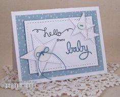 Curtain Call Inspiration Challenge: Baby Booties.  Card by design team member Maureen Plut using stamps from Newton's Nook.