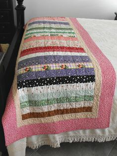 "Handmade Quilted Bed Runner - Queen or King Size Bed Runner, Made With Susan Branch Designer Cotton Fabric, ""In Love With Nature"""