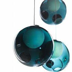 deckenlampen blau hängelampe kugel glaskugel lampen