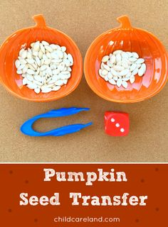 For math and fine motor develpment. Halloween Activities, Autumn Activities, Motor Activities, Pumpkin Seed Activities, Sensory Activities, Pumpkin Preschool Crafts, Pumpkin Seed Crafts, Preschool Halloween, Physical Activities
