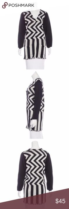 """OPENING CEREMONY CHEVRON JACQUARD CARDIGAN Opening Ceremony chevron cardi Pre-Fall 2013  Fabric: 35% Rayon, 29% Viscose, 21% Nylon, 13% Wool, 2% Cashmere Designer Black and white Opening Ceremony jacquard cardigan with chevron pattern throughout, dual patch pockets at front and snap closures at center front. Size Small Bust: 36"""" Waist: 36"""" Length: 30"""" Condition: Very light general wear. No flaws. Opening Ceremony Sweaters Cardigans"""