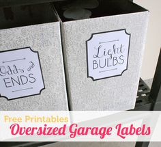 Reuse boxes, cover with contact paper (dollar store!) and printable labels for garage/basement storage