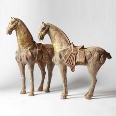 Pair of Gilded Han Horses