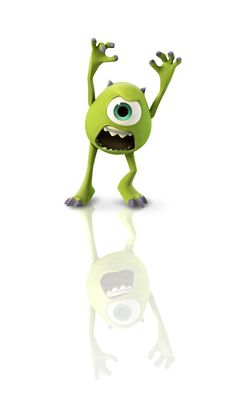 Mike Wazowski is a monster who goes to school at the Monster's University with Sulley. He might look harmless at first glance, but he can scare the bravest child to tears when he puts his mind to it. Walt Disney Co, Disney Love, Disney Magic, Disney Pixar, Mike And Sulley, Mike Wazowski, Monster University, Disney Infinity Characters, Disney Games
