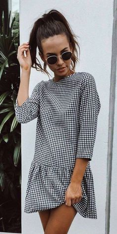 incredible outfit idea / plaid dress and sunglasses