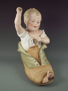 Antique Heubach Piano Baby in Shoe Figurine