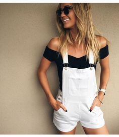 29 casual and cute summer outfits white overalls shorts, white dungarees, black short overalls Look Fashion, Fashion Clothes, Fashion Outfits, Fashion Women, Fashion Trends, Winter Fashion, Feminine Fashion, Teen Fashion, Fashion News