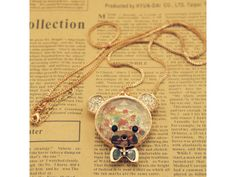 3D Crystal Bear Pendant Necklace