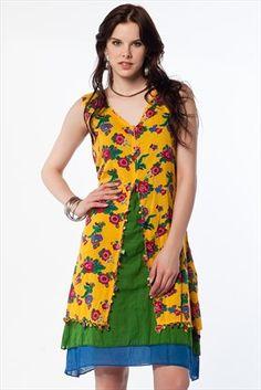 Etnik Seçimler - Hardal Elbise 1017422 %58 indirimle 79,99TL ile Trendyol da Beach Dresses, Girls Dresses, Summer Dresses, Ankara Styles For Kids, Refashion Dress, Textiles, Festival Outfits, Couture, Indian Wear