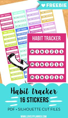 Free Printable Habit Tracker Planners Stickers. More planner freebies on lovelyplanner.com