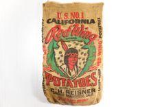 Vintage Potato Sack // California Red Wing Burlap Sack