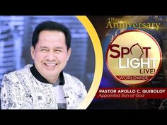 SPOTLIGHT by Pastor Apollo C. Quiboloy • December 2, 2019 Spiritual Enlightenment, Spirituality, Youtube Live, T Lights, Tomato Salad, Son Of God, Praise And Worship, Happy Anniversary, Apollo
