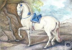 Андрианова Лариса. Испанец #art #watercolorpencil #drawing #staedtler #horse