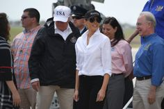 "Trump arrived in Corpus Christi wearing the white ""45/USA"" hat that's available for $40 on his own website. This marks the third time in four days that the president has worn on-sale campaign merchandise during events related to #Harvey, including two previous meetings for which the White House released photographs."