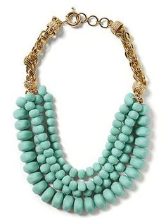"SO pretty! Though if I'm going to get another ""statement"" necklace, it should probably be any color but turquoise. [Bold Bead Necklace 