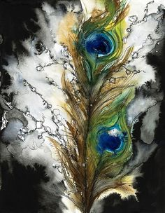 beautiful work!  pen and ink/water color peacock feathers                                                                                                                                                                                 Plus