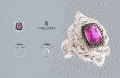 Jolie Môme ring. The center stone is a pink sapphire from Mozambique set in a white gold band encrusted with diamonds. @John Rubel #JohnRubel #highjewelry #Paris #jewelry #luxury #gems #gold #diamonds