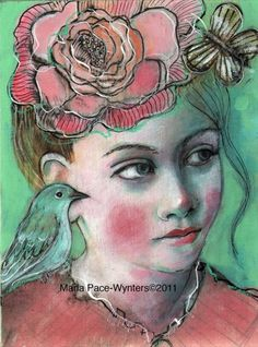 """The Confidant"" - mixed media by ©Maria Pace-Wynters (via DailyPainters)"