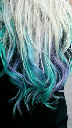 Love the teal and purple tips Purple Violet Red Cherry Pink Bright Hair Colour Color Coloured Colored Fire Style curls haircut lilac lavender short long mermaid blue green teal orange hippy boho ombré Pulp Riot