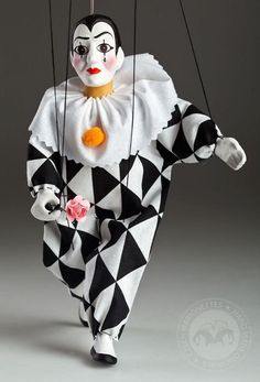 Pierrot marionette puppet awesome handmade Harlequin | Etsy Puppet Toys, Puppets, Wooden Puppet, Toy Theatre, Theater, Marionette Puppet, Puppet Making, Lace Collar, White Gloves