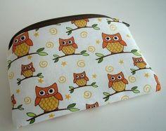Orange Owls Zipper Pouch Little Gadget Case Coin purse ECO Friendly Padded by JPATPURSES, $8.00