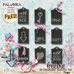 FREEBIE: On Chalkboard Beautiful: You Tags by Palvinka Designs | Digital Scrapbook