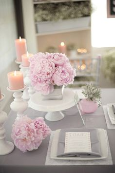gray and pink wedding flowers and decor @ Wedding Ideas