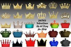 Gold and Color Texture Crowns Graphics This set comes with 29 PNG files with transparent backgrounds. These are easy to resize in your favo by FrankiesDaughtersDesign