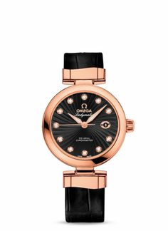 Omega Deville Ladymatic Red gold on leather strap 425.63.34.20.51.001