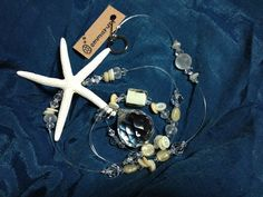 白いヒトデのサンキャッチャー white starfish suncatcher  crystal beads handmade craft rainbow