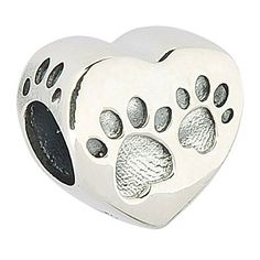 Love Heart Dog Paw Print Authentic 925 Sterling Silver Bead Animals & Pets Charm Bead Fits Pandora Charms