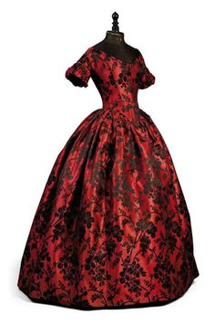 Embroidered red and black antebellum Southern Belle style evening gown circa 1850