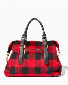 Winter Plaid Weekender Tote | Fashion Handbags - Slope Style | Charming Charlie