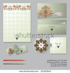 Vector corporate identity templates with  floral symmetrical elements, isolated on gray background. Letterhead, envelope, business card, pencils, disc with packaging. Templates for business design. - stock vector